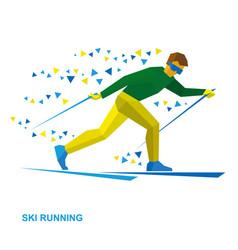 Winter sports - skiing cartoon skier running vector