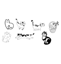 Black and white cats and kittens set ink hand vector