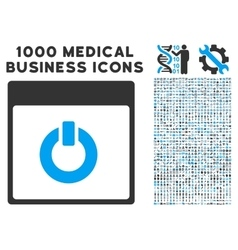 Switch on calendar page icon with 1000 medical vector