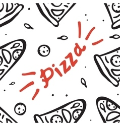 Pattern with hand drawn pizza slices vector