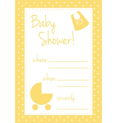 Unisex yellow cute baby shower card or invitation vector