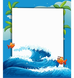 Big wave border frame vector
