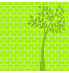 green tree on green brick background vector image