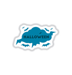paper sticker on background of cloud bats vector image