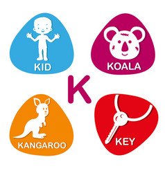 Cute alphabet in  k letter for kid koala vector