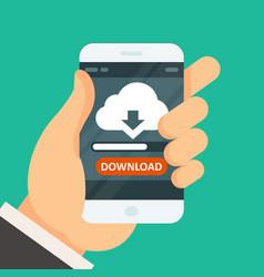 Cloud computing download app on smartphone vector