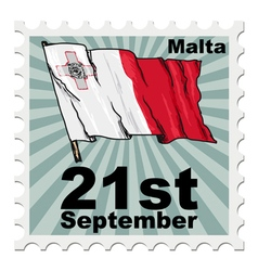 Post stamp of national day of malta vector