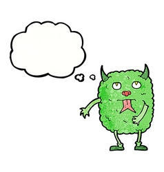 Funny cartoon monster with thought bubble vector