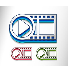 3d glossy video play icon vector