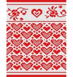 Heart knitting pattern vector image