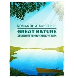 Lake nature landscape background poster vector