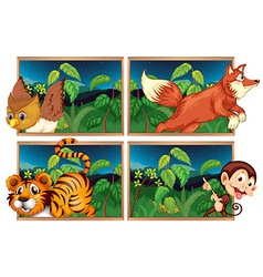 Four forest scenes with wild animals vector