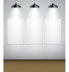 Abstract gallery background with lighting lamp and vector