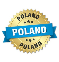 Poland round golden badge with blue ribbon vector