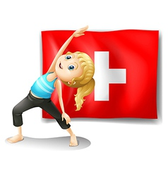 A girl having her exercise in front of the vector image vector image