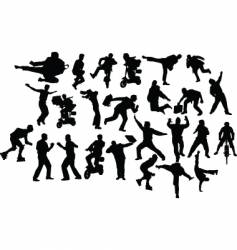 action silhouettes vector image vector image