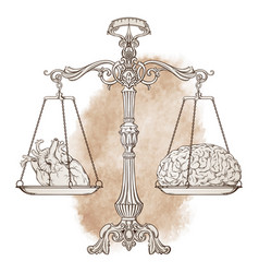 Antique balance scales with a heart and brain vector