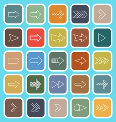 Arrow line flat icons on blue background vector image