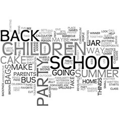 back to school party text word cloud concept vector image