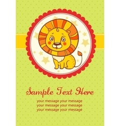 Birthday party card with lion vector