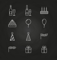 Birthday party icons on chalkboard vector