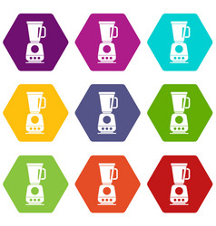 blender icon set color hexahedron vector image