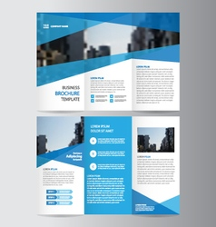Blue trifold annual report leaflet brochure flyer vector