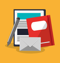 Book and envelope icon vector