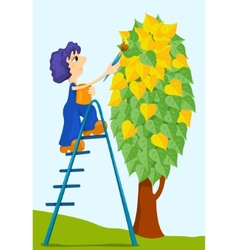 boy paints trees vector image vector image