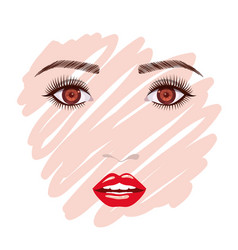 colorful female face sketch in white background vector image vector image