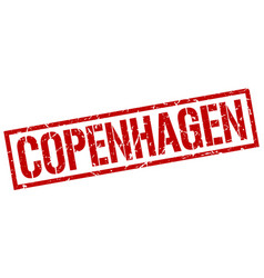 Copenhagen red square stamp vector