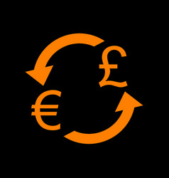 Currency exchange sign euro and uk pound orange vector
