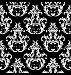damask black white seamless pattern floral vector image vector image
