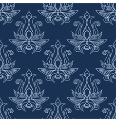 Floral seamless blue paisley pattern vector