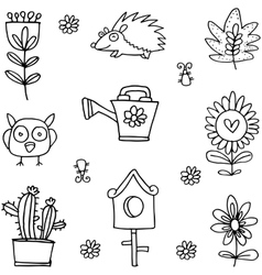 Flower set spring of doodles vector