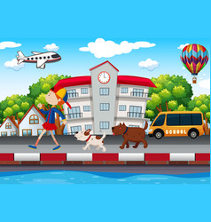 Girl and dogs walking on pavement vector