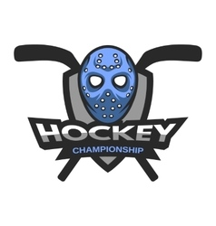 Goalie mask Hockey logo emblem vector image