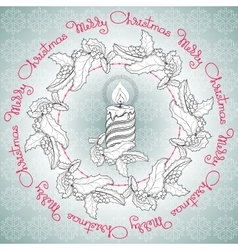 Hand drawn candle holly and handwritten words vector