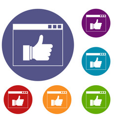 hand with thumb up in browser icons set vector image vector image
