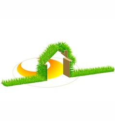 home and green grass vector image