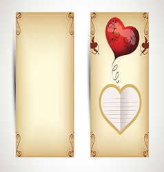 Horizontal flyers with hearts and text in vintage vector