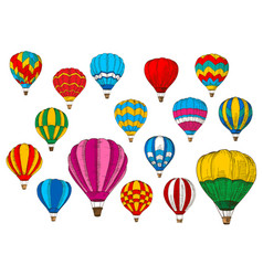 Icons sport sketch patterned air balloons vector