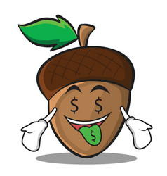 Money mouth acorn cartoon character style vector