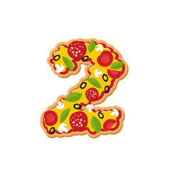 Number 2 pizza font italian meal alphabet numeral vector