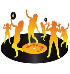orange dancing on vinyl vector image