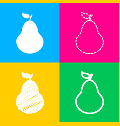 pear sign four styles of icon on vector image