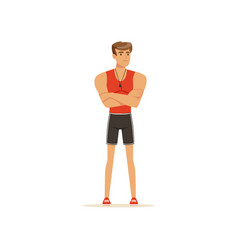 professional fitness coach or instructor standing vector image vector image
