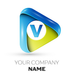Realistic letter v logo colorful triangle vector