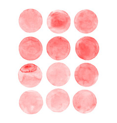 Red watercolor circles set vector