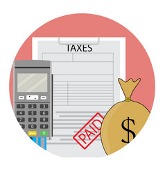 Tax year paid icon app flat vector